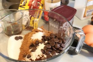 mix together your brownie mix and add the extras for your samoa brownies